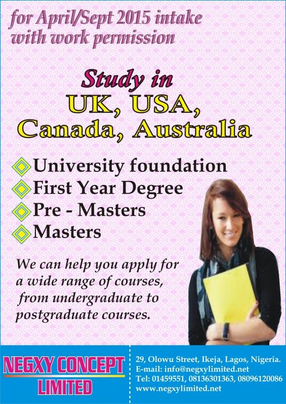 Study in uk,usa,australia,canada for september intake 2015