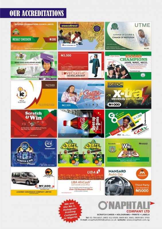 We are the best scratch cards printing company in nigeria. call 08098013665